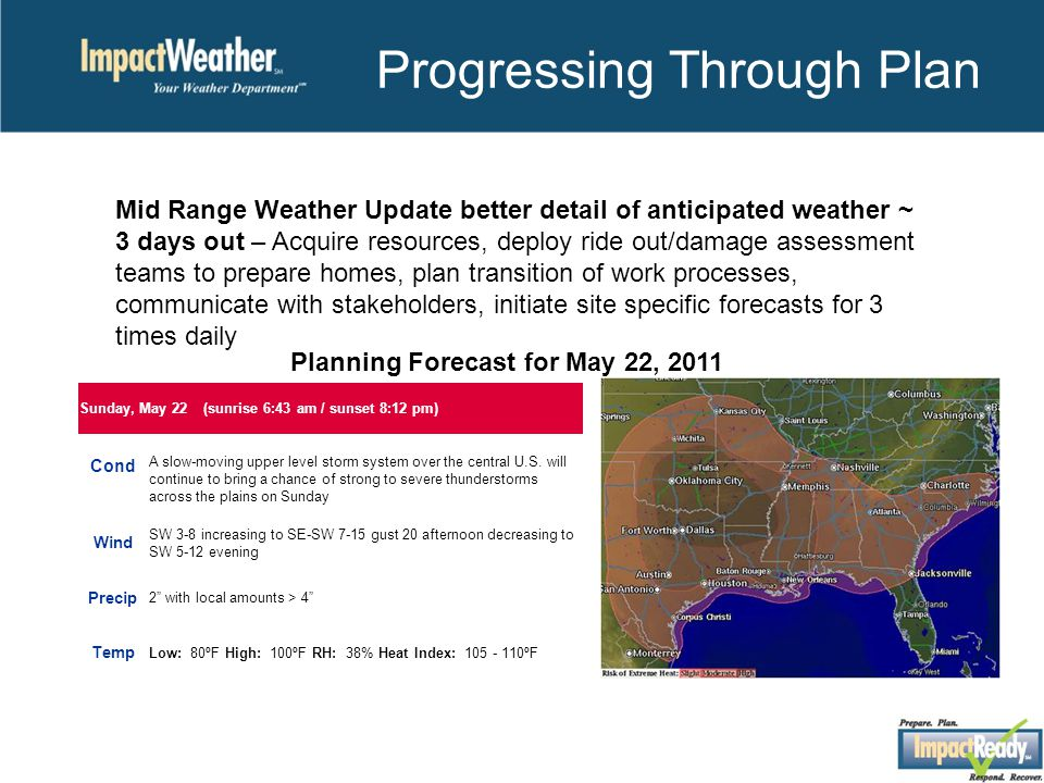Progressing Through Plan Mid Range Weather Update better detail of anticipated weather ~ 3 days out – Acquire resources, deploy ride out/damage assessment teams to prepare homes, plan transition of work processes, communicate with stakeholders, initiate site specific forecasts for 3 times daily Sunday, May 22 (sunrise 6:43 am / sunset 8:12 pm) Cond A slow-moving upper level storm system over the central U.S.
