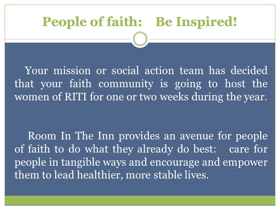 People of faith: Be Inspired.