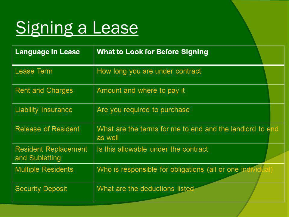 Signing a Lease Language in LeaseWhat to Look for Before Signing Lease TermHow long you are under contract Rent and ChargesAmount and where to pay it Liability InsuranceAre you required to purchase Release of ResidentWhat are the terms for me to end and the landlord to end as well Resident Replacement and Subletting Is this allowable under the contract Multiple ResidentsWho is responsible for obligations (all or one individual) Security DepositWhat are the deductions listed