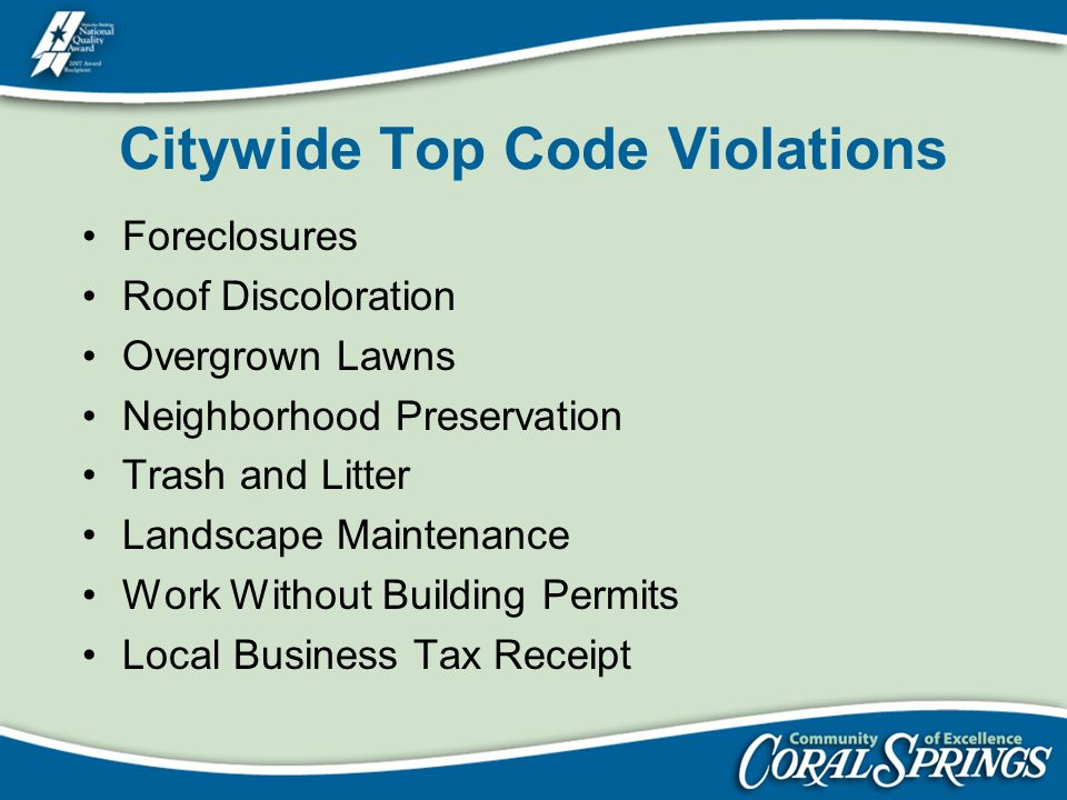 Citywide Top Code Violations Foreclosures Roof Discoloration Overgrown Lawns Neighborhood Preservation Trash and Litter Landscape Maintenance Work Wit