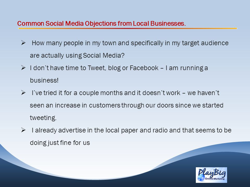Common Social Media Objections from Local Businesses.