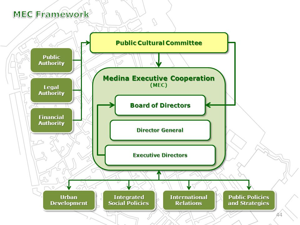 44 Medina Executive Cooperation (MEC) Medina Executive Cooperation (MEC) Public Cultural Committee Board of Directors Director General Executive Directors Public Authority LegalAuthorityLegalAuthority Financial Authority Public Policies and Strategies International Relations Integrated Social Policies Integrated Urban Development