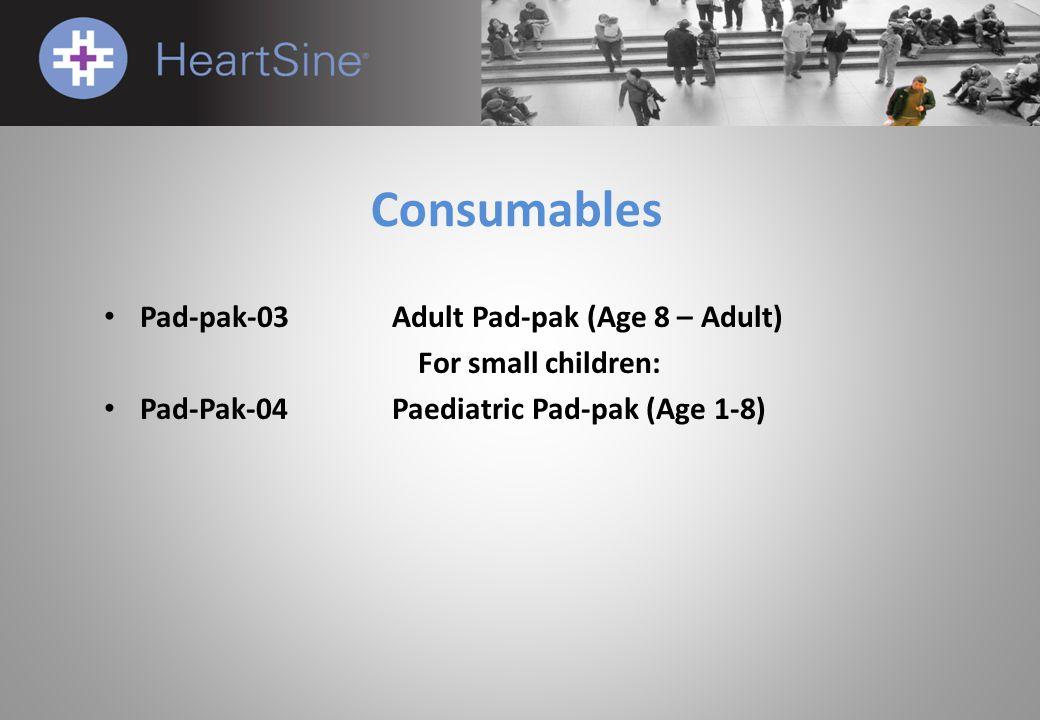 Consumables Pad-pak-03Adult Pad-pak (Age 8 – Adult) For small children: Pad-Pak-04Paediatric Pad-pak (Age 1-8)