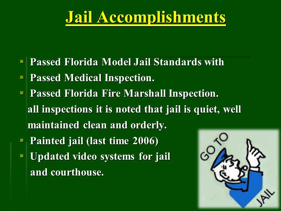 Jail Accomplishments Jail Accomplishments Passed Florida Model Jail Standards with Passed Florida Model Jail Standards with Passed Medical Inspection.