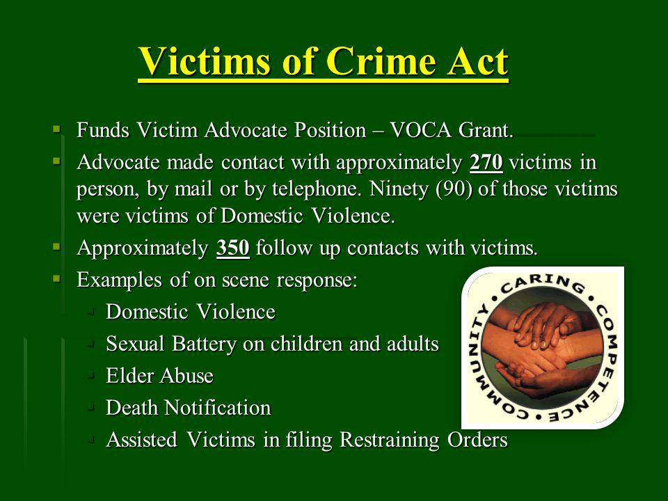 Victims of Crime Act Funds Victim Advocate Position – VOCA Grant.
