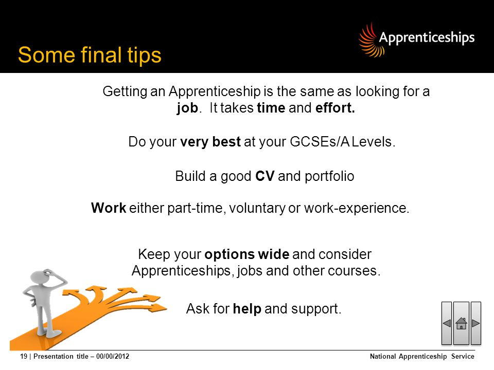 19 | Presentation title – 00/00/2012National Apprenticeship Service Some final tips Ask for help and support. Getting an Apprenticeship is the same as