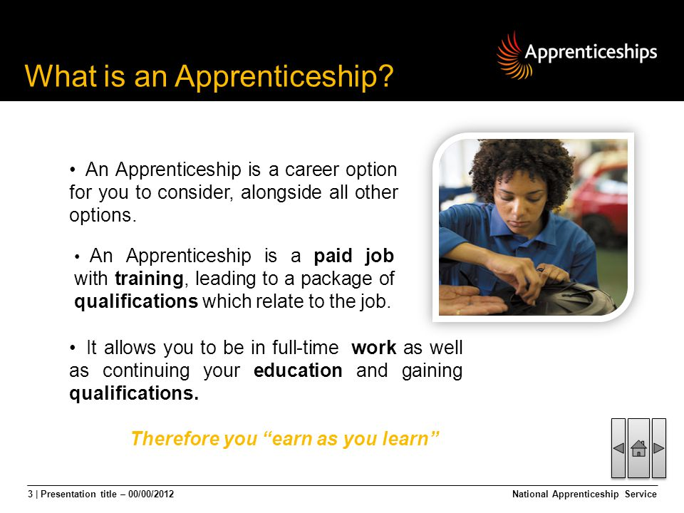 3 | Presentation title – 00/00/2012National Apprenticeship Service It allows you to be in full-time work as well as continuing your education and gain