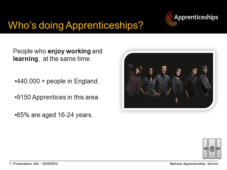8 | Presentation title – 00/00/2012National Apprenticeship Service Once qualified, Level 3 Apprentices could expect to earn 18% more than someone without training.