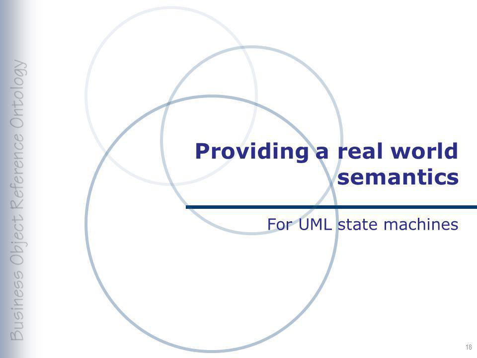 Providing a real world semantics For UML state machines 18
