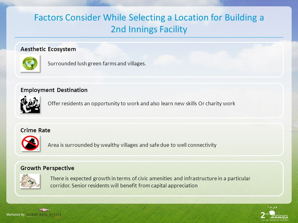 12 Factors Consider While Selecting a Location for Building a 2nd Innings Facility Aesthetic Ecosystem Surrounded lush green farms and villages.
