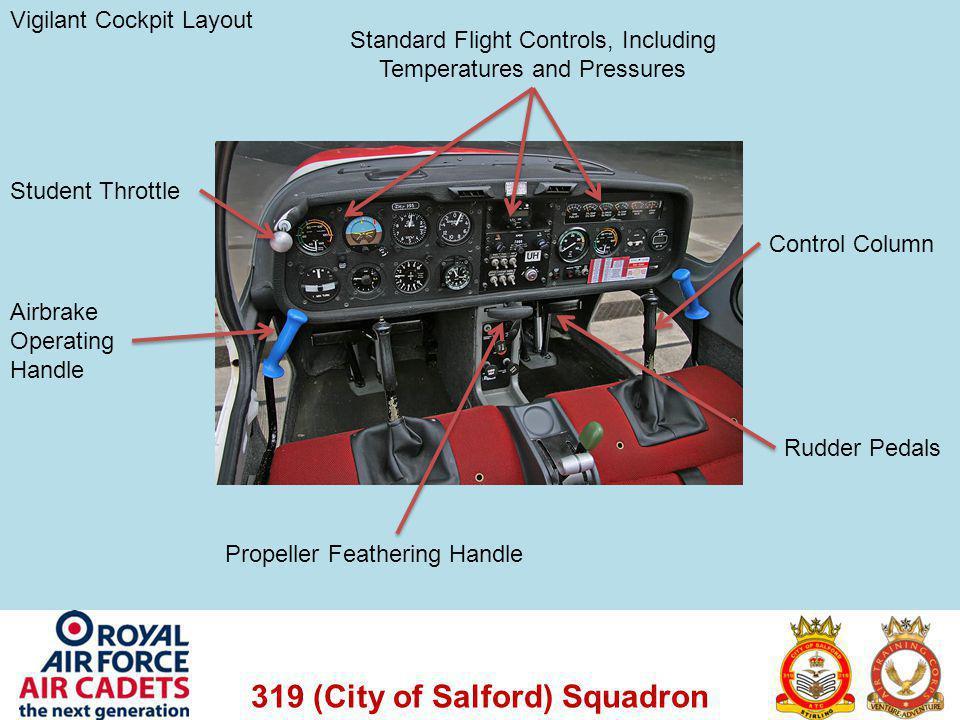 319 (City of Salford) Squadron Vigilant Cockpit Layout Control Column Rudder Pedals Student Throttle Airbrake Operating Handle Standard Flight Control