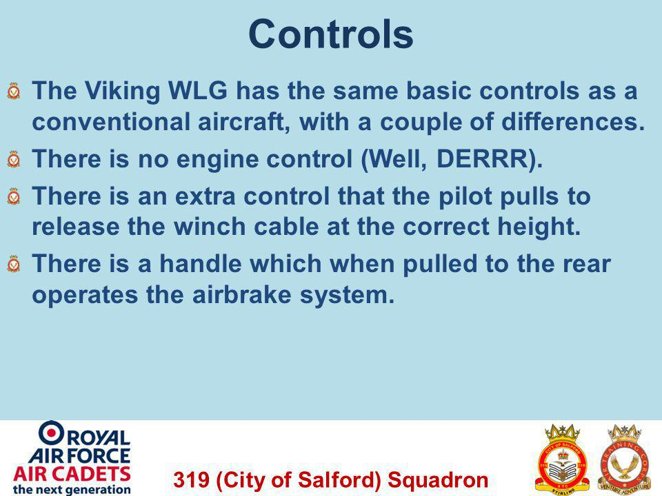 319 (City of Salford) Squadron Rudder Pedals Control Column Winch Cable Release Airbrake Handle