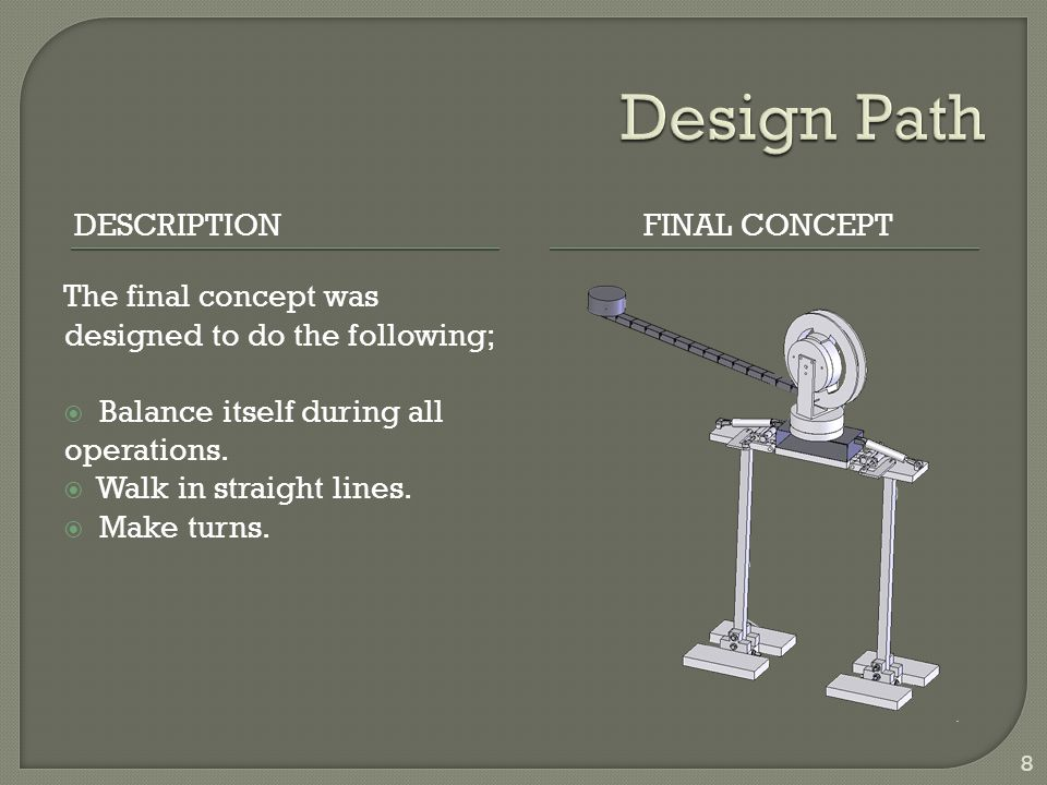 DESCRIPTIONFINAL CONCEPT The final concept was designed to do the following; Balance itself during all operations.