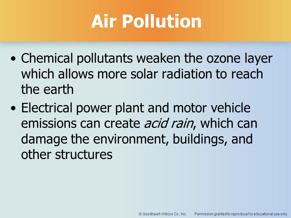Permission granted to reproduce for educational use only.© Goodheart-Willcox Co., Inc. Air Pollution Chemical pollutants weaken the ozone layer which