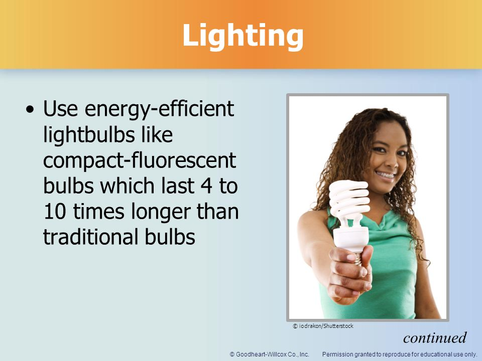 Permission granted to reproduce for educational use only.© Goodheart-Willcox Co., Inc. Lighting Use energy-efficient lightbulbs like compact-fluoresce