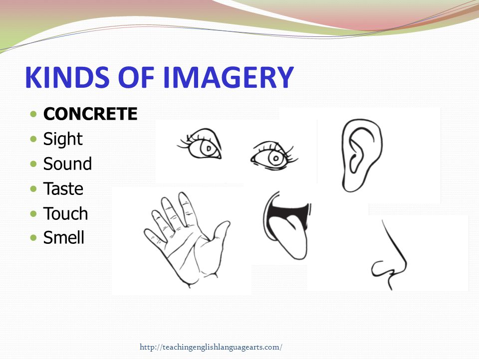 KINDS OF IMAGERY CONCRETE Sight Sound Taste Touch Smell http://teachingenglishlanguagearts.com/