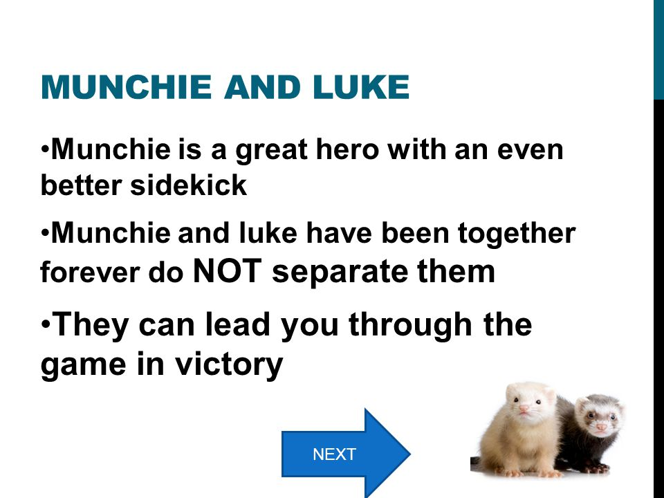 MUNCHIE AND LUKE Munchie is a great hero with an even better sidekick Munchie and luke have been together forever do NOT separate them They can lead you through the game in victory NEXT
