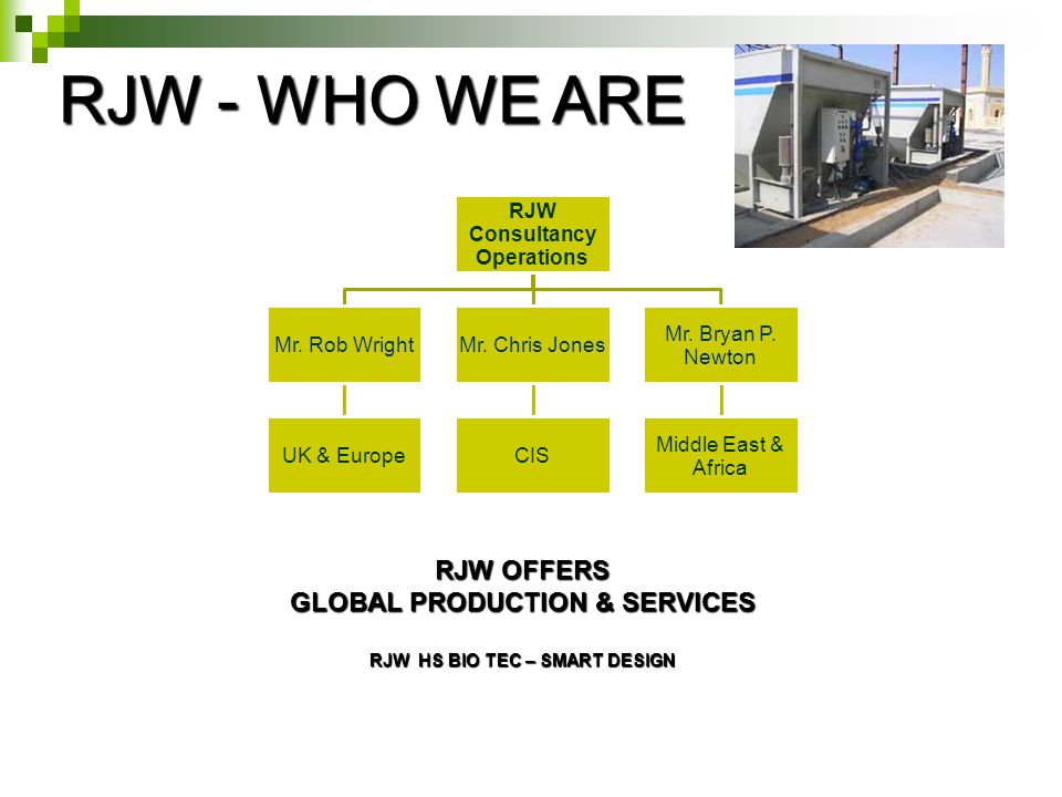 RJW - WHO WE ARE RJW Consultancy Operations Mr. Rob Wright UK & Europe Mr.
