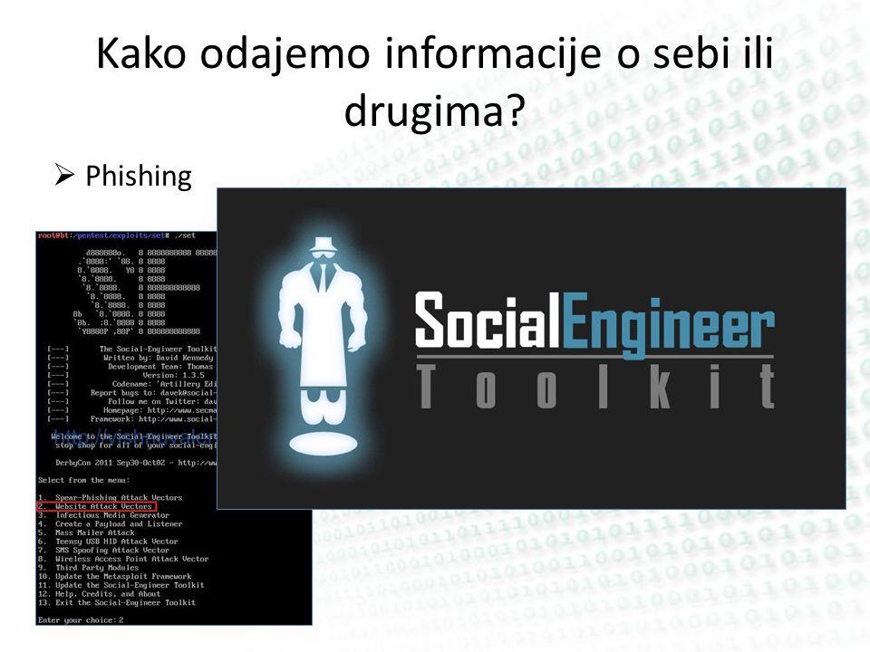Kako odajemo informacije o sebi ili drugima Phishing