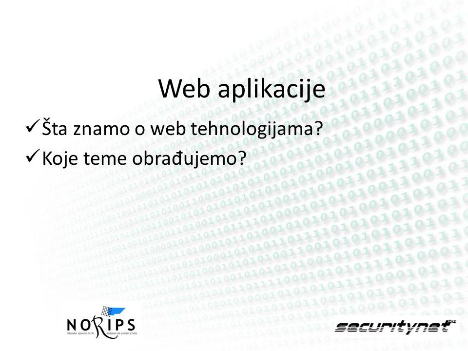 Web aplikacije Šta znamo o web tehnologijama? Koje teme obra đ ujemo?
