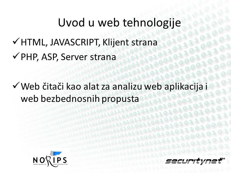 Uvod u web tehnologije HTML, JAVASCRIPT, Klijent strana PHP, ASP, Server strana Web čitači kao alat za analizu web aplikacija i web bezbednosnih propu