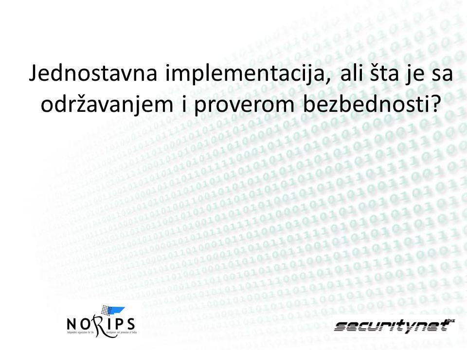 Jednostavna implementacija, ali šta je sa održavanjem i proverom bezbednosti?