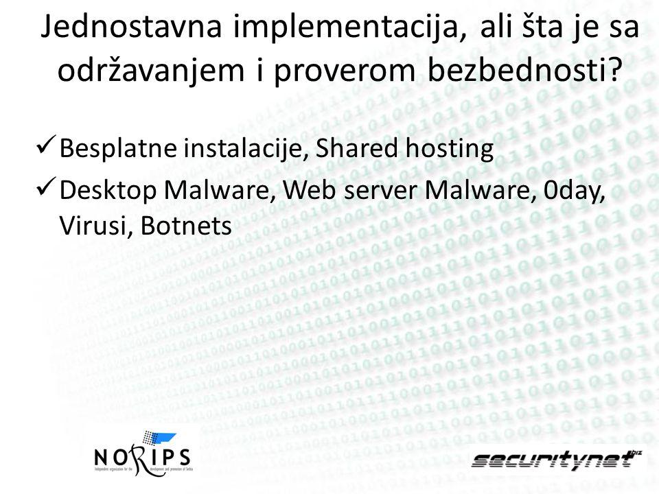Jednostavna implementacija, ali šta je sa održavanjem i proverom bezbednosti.