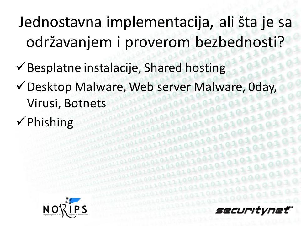 Jednostavna implementacija, ali šta je sa održavanjem i proverom bezbednosti? Besplatne instalacije, Shared hosting Desktop Malware, Web server Malwar