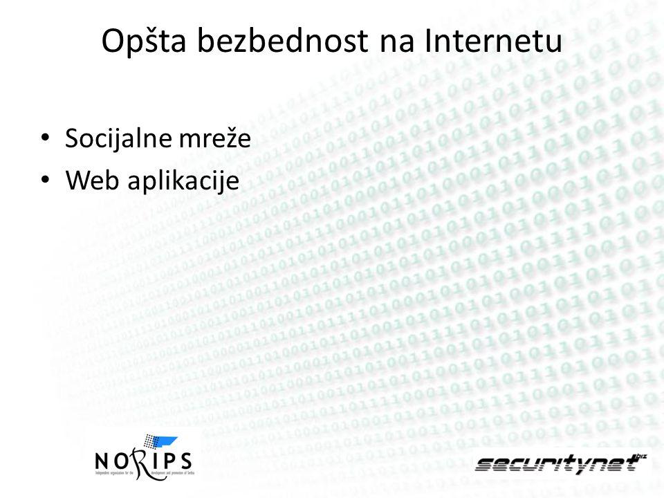 Opšta bezbednost na Internetu Socijalne mreže Web aplikacije