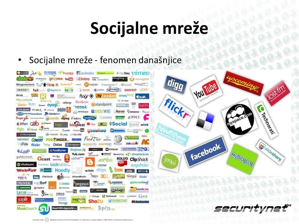Socijalne mreže Socijalne mreže - fenomen današnjice