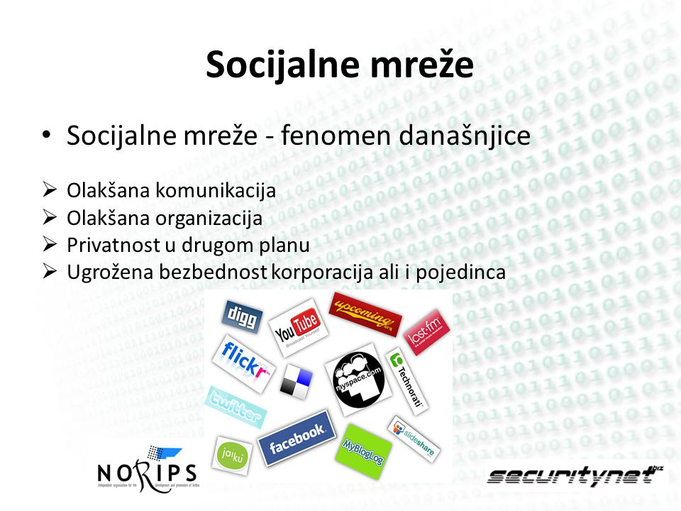 Nebezbednost socijalnih mreža Nenamerno odavanje privatnih ili korporativnih informacija Industriska špijunaža Virusi, Malware Preuzimanje kontrole nad računarom i mrežom Phishing