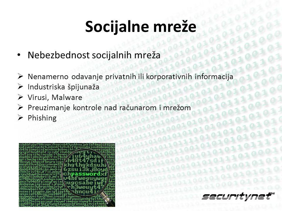 Zaključak Socijalne (društvene) mreže otvaraju mnoga vrata potencijalnim napadačima Potrebno je osigurati najslabiju kariku u lancu bezbednosti – čoveka Rešenje leži u redovnoj edukaciji i primeni propisanih standarda!