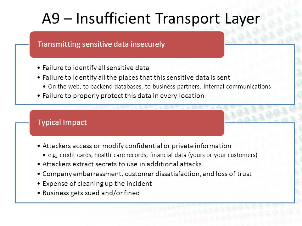 A9 – Insufficient Transport Layer Protection Failure to identify all sensitive data Failure to identify all the places that this sensitive data is sent On the web, to backend databases, to business partners, internal communications Failure to properly protect this data in every location Transmitting sensitive data insecurely Attackers access or modify confidential or private information e.g, credit cards, health care records, financial data (yours or your customers) Attackers extract secrets to use in additional attacks Company embarrassment, customer dissatisfaction, and loss of trust Expense of cleaning up the incident Business gets sued and/or fined Typical Impact