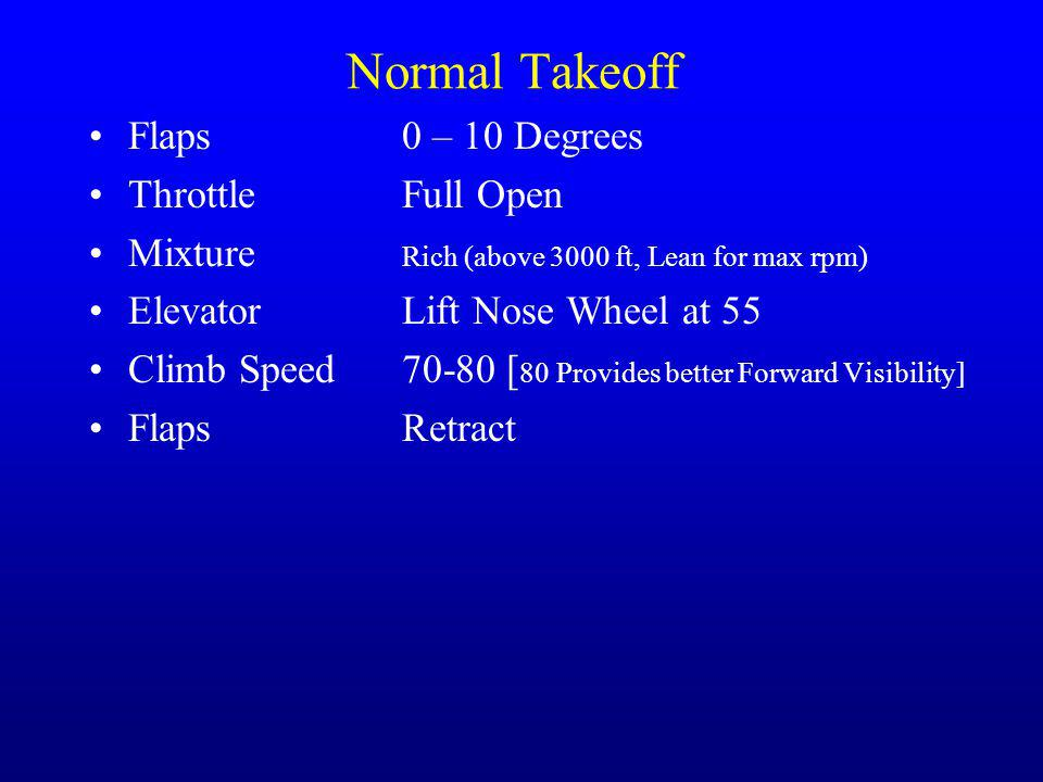 Normal Takeoff Flaps0 – 10 Degrees ThrottleFull Open Mixture Rich (above 3000 ft, Lean for max rpm) Elevator Lift Nose Wheel at 55 Climb Speed70-80 [ 80 Provides better Forward Visibility] FlapsRetract