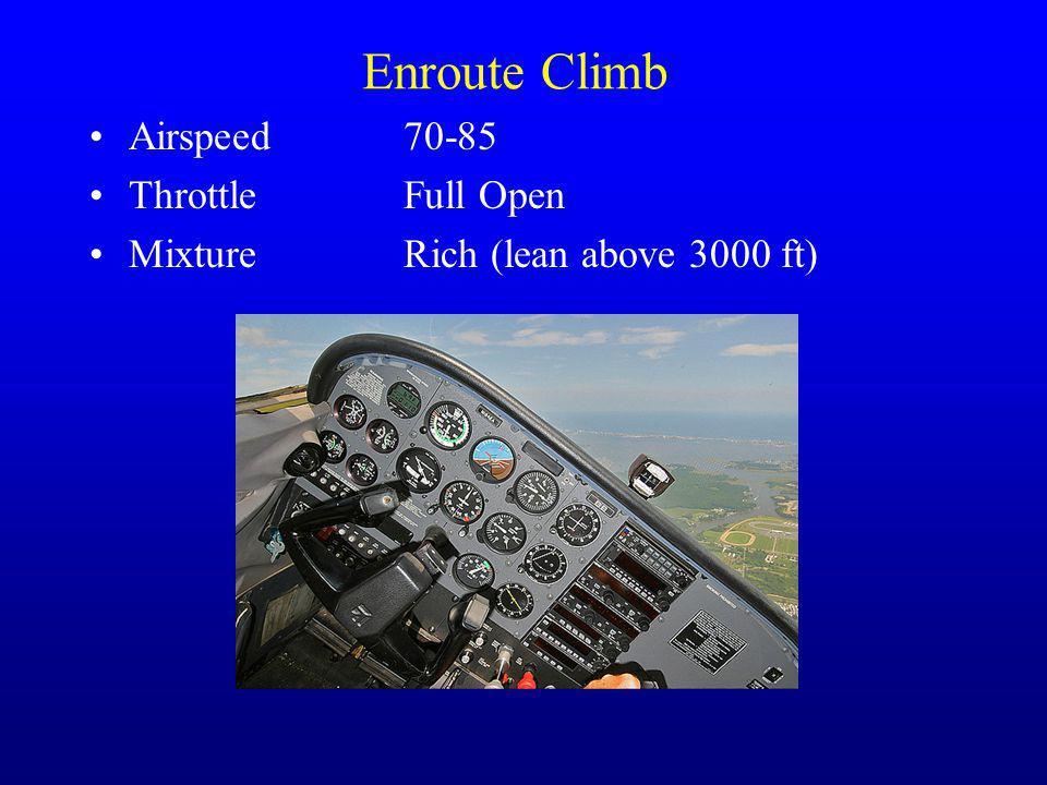 Enroute Climb Airspeed70-85 ThrottleFull Open MixtureRich (lean above 3000 ft)