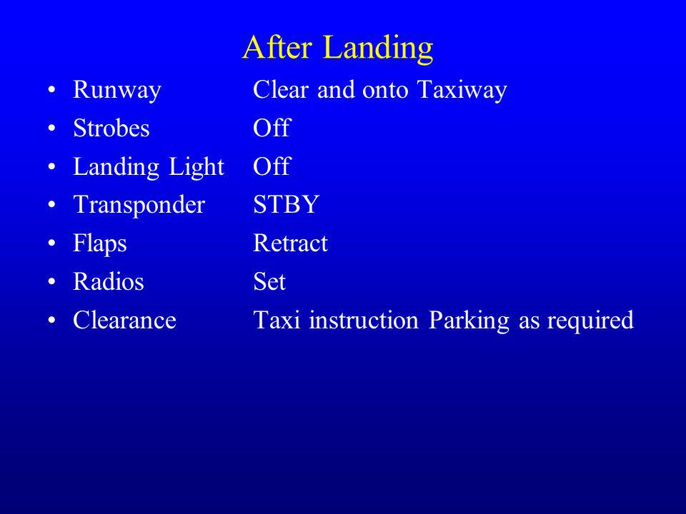After Landing RunwayClear and onto Taxiway StrobesOff Landing LightOff TransponderSTBY FlapsRetract RadiosSet Clearance Taxi instruction Parking as re