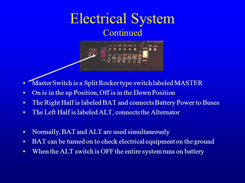 Electrical System Continued Master Switch is a Split Rocker type switch labeled MASTER On is in the up Position, Off is in the Down Position The Right