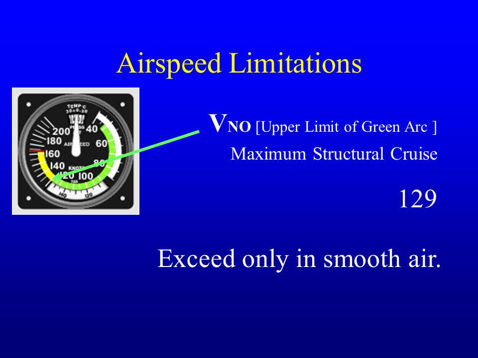 Airspeed Limitations V NO [Upper Limit of Green Arc ] Maximum Structural Cruise Exceed only in smooth air. 129