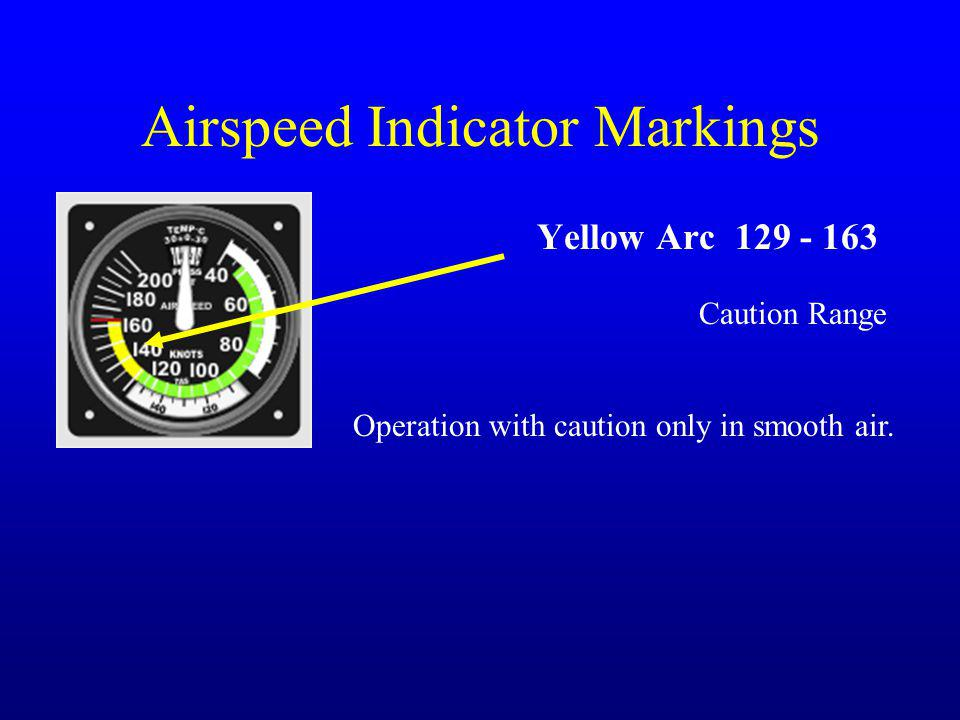 Airspeed Indicator Markings Yellow Arc 129 - 163 Caution Range Operation with caution only in smooth air.