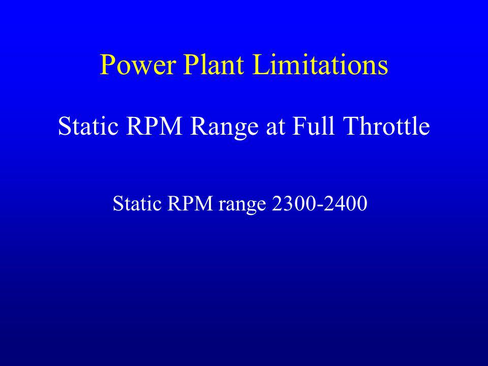 Power Plant Limitations Static RPM Range at Full Throttle Static RPM range 2300-2400