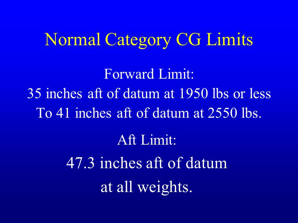Normal Category CG Limits Forward Limit: 35 inches aft of datum at 1950 lbs or less To 41 inches aft of datum at 2550 lbs. Aft Limit: 47.3 inches aft