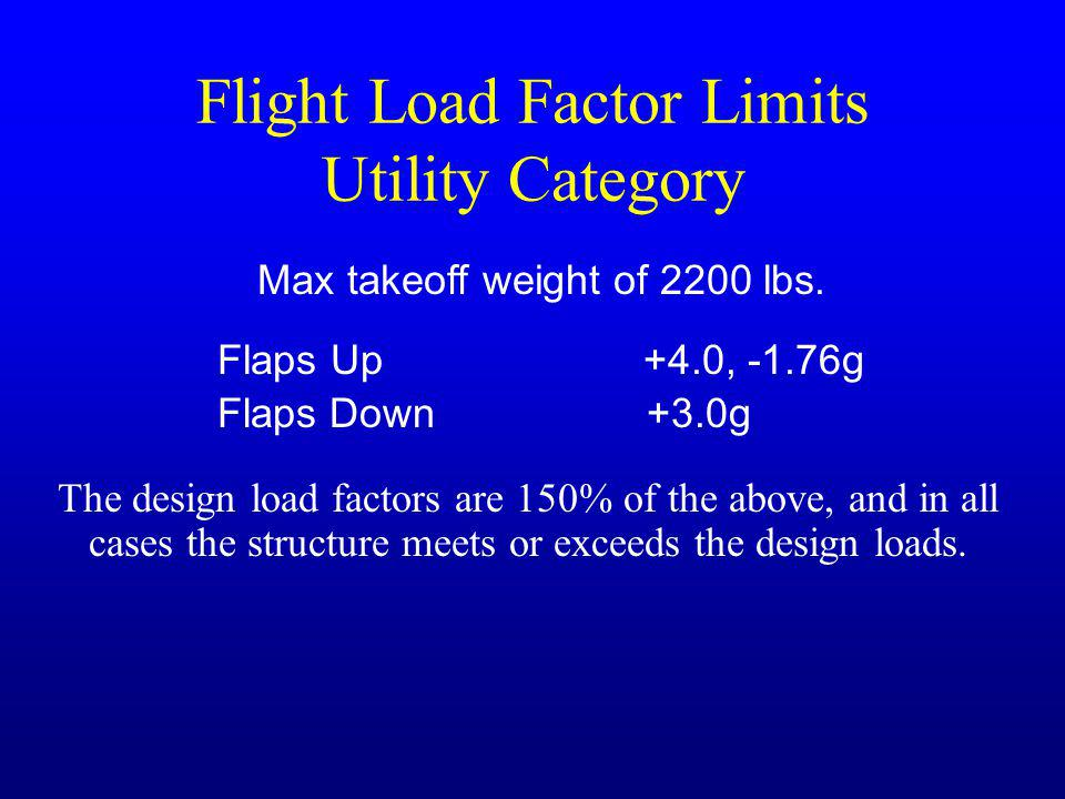Flight Load Factor Limits Utility Category Max takeoff weight of 2200 lbs. Flaps Up+4.0, -1.76g Flaps Down +3.0g The design load factors are 150% of t