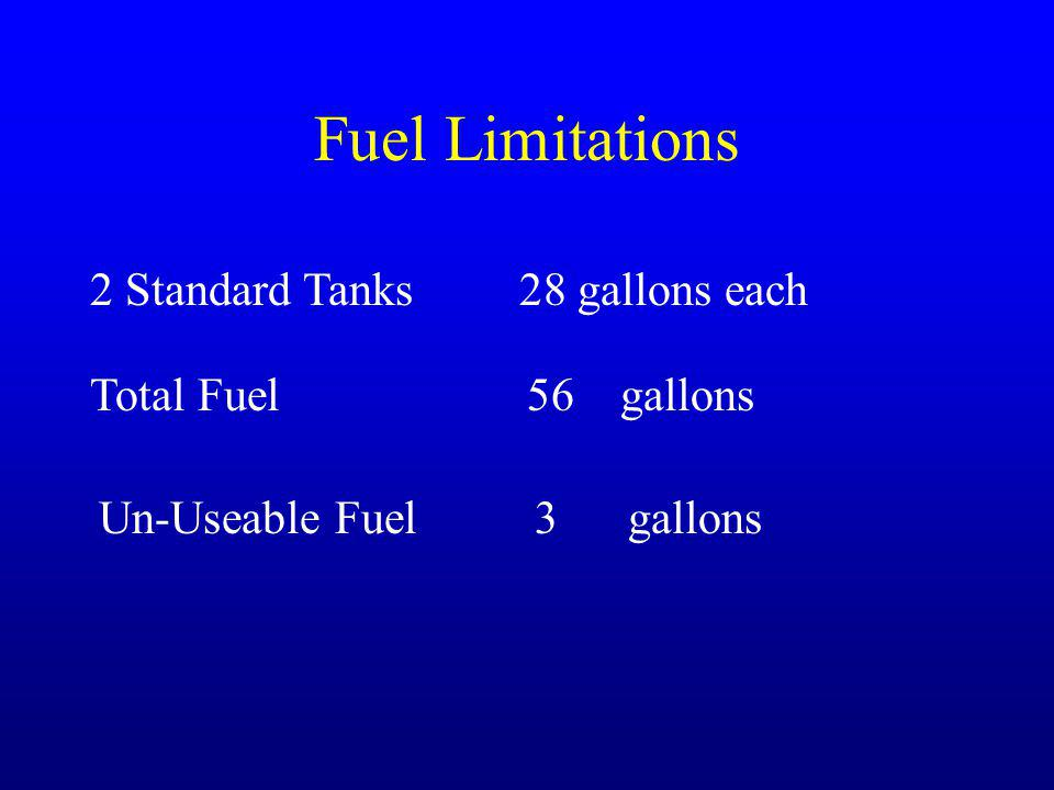 Fuel Limitations 2 Standard Tanks 28 gallons each Total Fuel 56 gallons Un-Useable Fuel 3 gallons