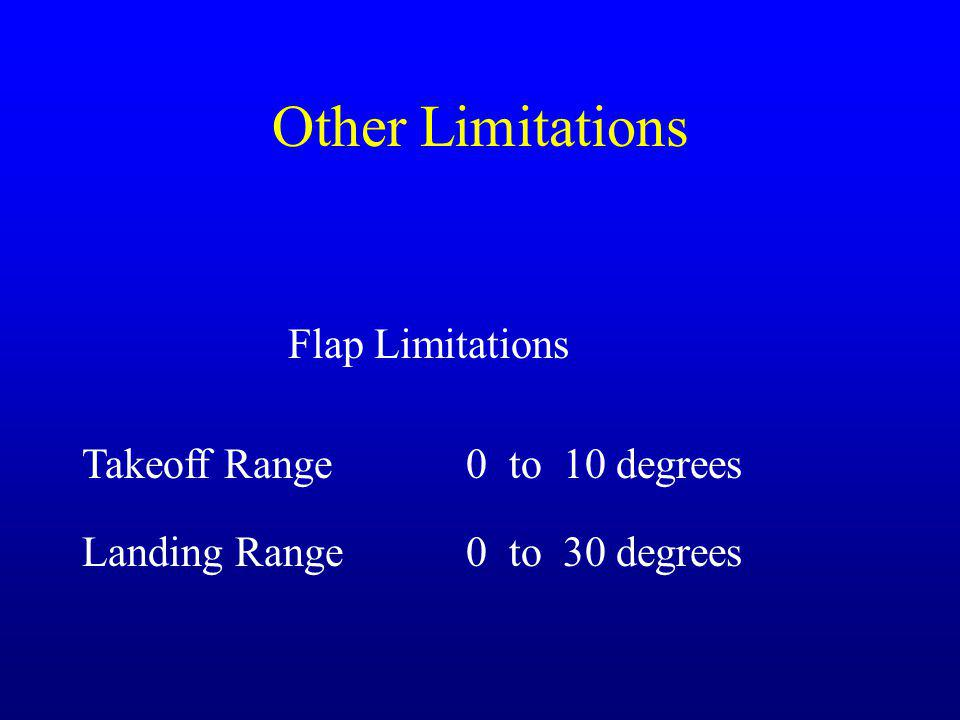 Other Limitations Flap Limitations Takeoff Range0 to 10 degrees Landing Range0 to 30 degrees