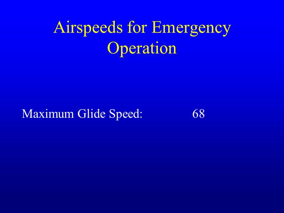 Airspeeds for Emergency Operation Maximum Glide Speed:68
