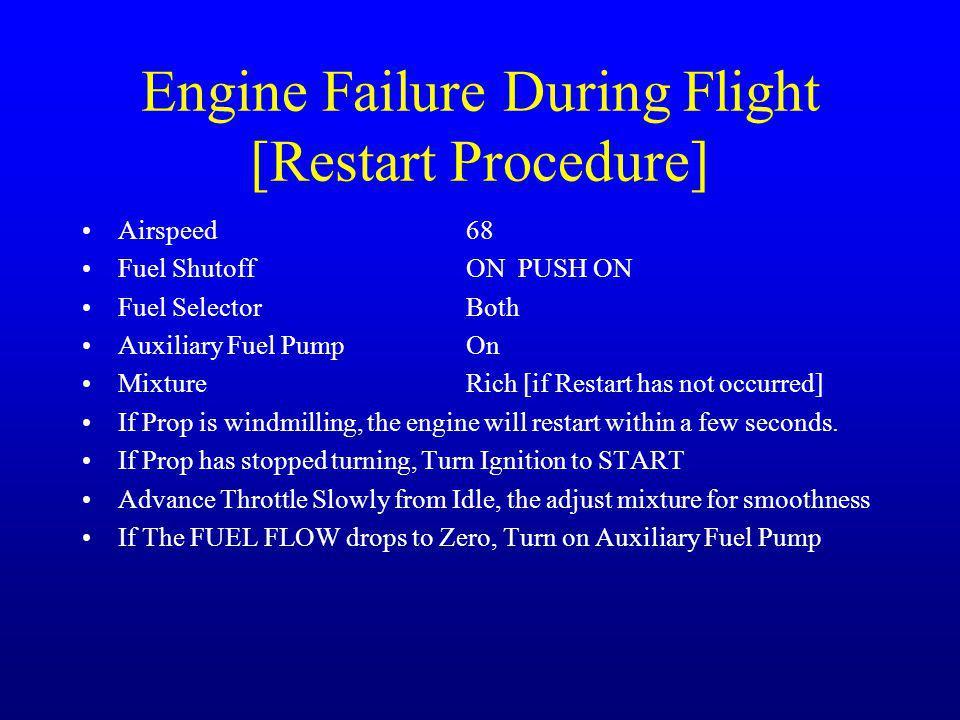 Engine Failure During Flight [Restart Procedure] Airspeed68 Fuel ShutoffON PUSH ON Fuel SelectorBoth Auxiliary Fuel PumpOn MixtureRich [if Restart has
