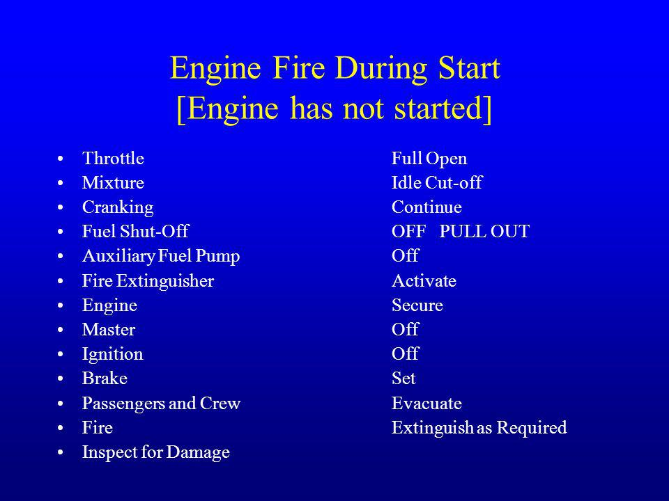 Engine Fire During Start [Engine has not started] Throttle Full Open MixtureIdle Cut-off Cranking Continue Fuel Shut-OffOFF PULL OUT Auxiliary Fuel Pu