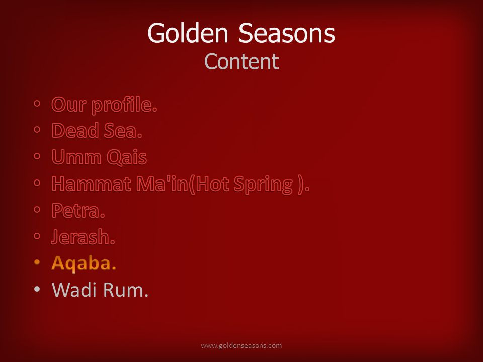 Golden Seasons Content www.goldenseasons.com