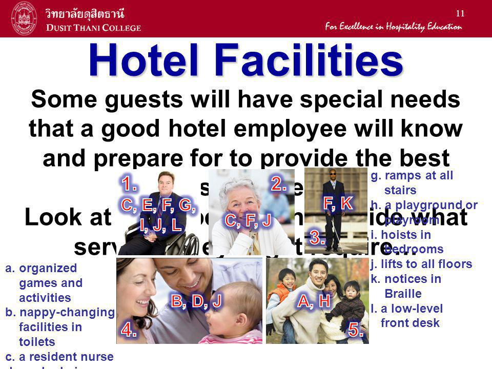 11 Hotel Facilities Some guests will have special needs that a good hotel employee will know and prepare for to provide the best professional service.