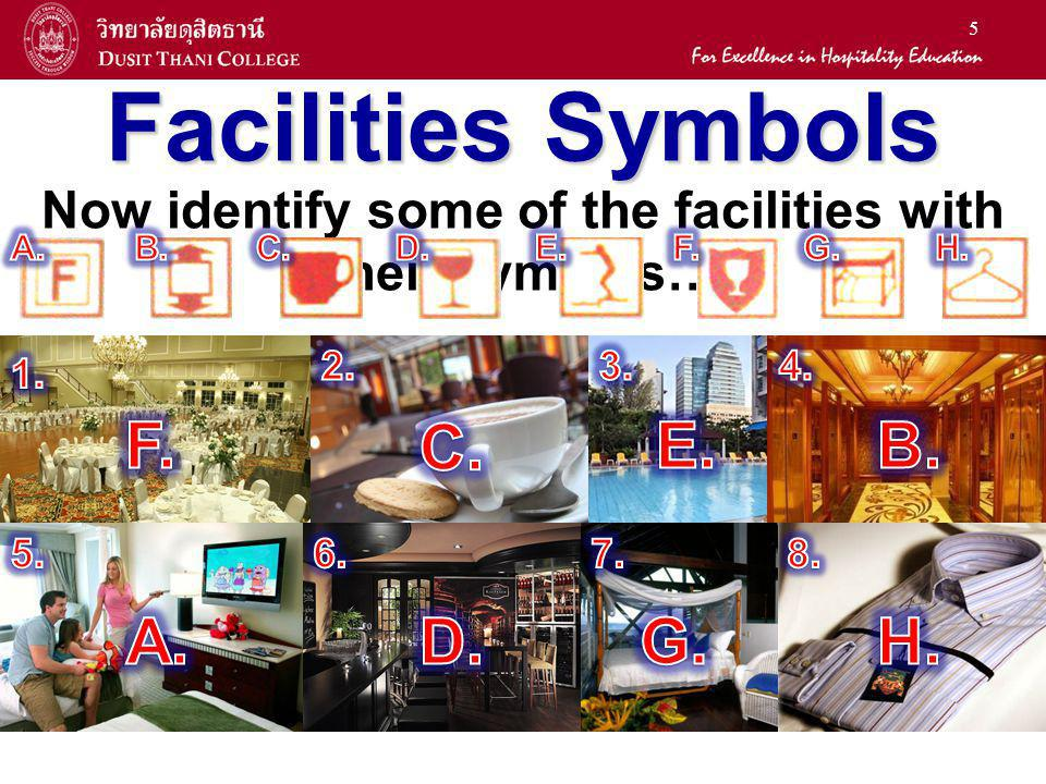 5 Facilities Symbols Now identify some of the facilities with their symbols…